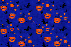 Pumpkins and Witches as Seamless Pattern Stock Photos