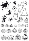 Pumpkins, witches and ghosts - halloween icons Royalty Free Stock Image