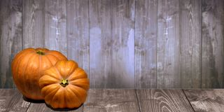The pumpkins on the wood board royalty free stock images