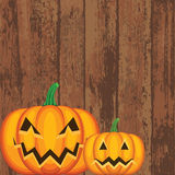 Pumpkins on wood Royalty Free Stock Image