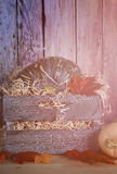 Pumpkins in wooden crate Royalty Free Stock Photos