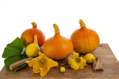 Pumpkins on a wooden table. Pumpkins and flowers on a wooden table Stock Photography