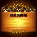 Pumpkins and wooden texture Halloween background Stock Image