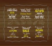 PumpkinSet de Dia das Bruxas de etiquetas da oferta da venda especial ilustração royalty free