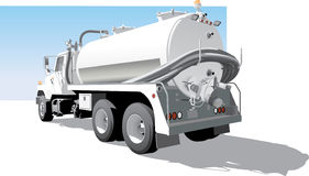 Pumplastbilen baksidt sid sikten stock illustrationer