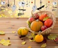 Pumpor i korg och halloween partigirland Royaltyfri Fotografi