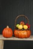 Pumpor och äpplen i korg-, nedgång- eller tacksägelsetema Royaltyfria Bilder