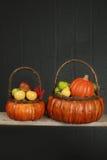 Pumpor och äpplen i korg-, nedgång- eller tacksägelsetema Arkivbild