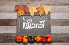 Pumpor och nedgångsidor på träbakgrund halloween isolerad white för höst begrepp Royaltyfria Foton
