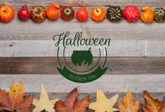 Pumpor och nedgångsidor på träbakgrund halloween isolerad white för höst begrepp Fotografering för Bildbyråer