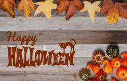 Pumpor och nedgångsidor på träbakgrund halloween isolerad white för höst begrepp Royaltyfri Foto