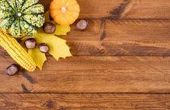 Pumpor och sidor på tacksägelsen på träplanka arkivfoton