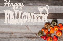 Pumpor på träbakgrund halloween isolerad white för höst begrepp Royaltyfri Bild