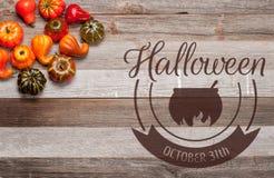 Pumpor på träbakgrund halloween isolerad white för höst begrepp Arkivbild
