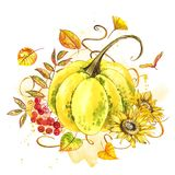 Pumpor Räcka utdragen vattenfärgmålning på vit bakgrund med färgstänk Autumn Vegetables vektor illustrationer