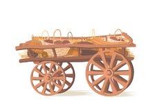 Pumpor zucchinin, kål, korgar av grönsaker är lögnen på en trävagn stock illustrationer