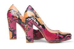 Pumps. Snakeskin pink snake skin pumps Royalty Free Stock Images
