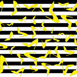 Pumps seamless pattern - yellow court shoes on black and white strips, vector illustration Stock Photography
