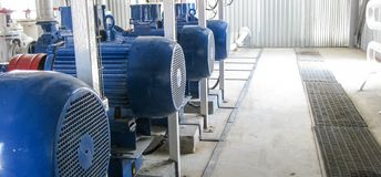 Pumps for water. Equipment for primary oil refining stock photo