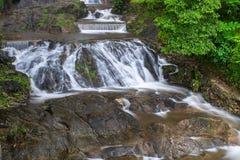 Pun Ya Ban Waterfall Ranong Thailand Fotografering för Bildbyråer