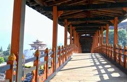 PUNA MOCCHU BAZAM : Antique  wooden bridge at Punakha Dzong Mona Stock Photography