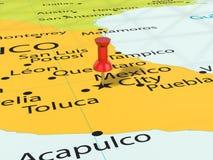 Punaise op de kaart van Mexico-City Stock Afbeelding