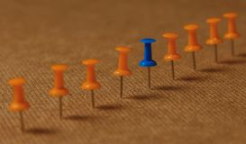 Punaise stationnaire et bleue dans la rangée avec l'orange, concept pour la différence, individualité, direction renaissance Copi Photographie stock