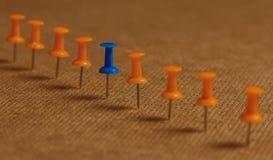 Punaise stationnaire et bleue dans la rangée avec l'orange, concept pour la différence, individualité, direction Vers le bas caté Images stock