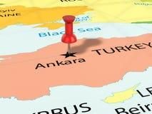 Punaise sur la carte d'Ankara Image stock