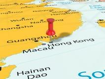 Punaise sur la carte de Hong Kong Photographie stock