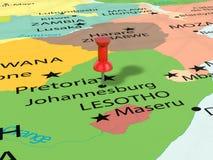 Punaise sur la carte de Johannesburg Image libre de droits