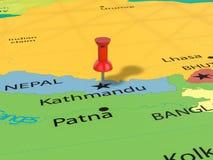 Punaise sur la carte de Katmandou Images libres de droits