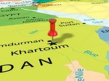 Punaise sur la carte de Khartoum Photo stock
