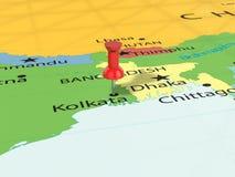 Punaise sur la carte de Kolkata Photo libre de droits