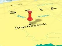 Punaise sur la carte de Krasnoïarsk Photos libres de droits