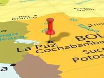 Punaise sur la carte de La Paz Photo libre de droits