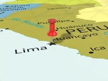Punaise sur la carte de Lima Image libre de droits