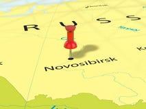 Punaise sur la carte de Novosibirsk Photos stock
