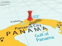 Punaise sur la carte de Panamá City Image libre de droits