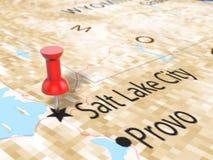 Punaise sur la carte de Salt Lake City Photographie stock libre de droits