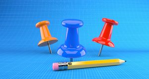 Punaises avec le crayon illustration stock