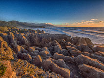 Punakaiki coastline at sunset, NZ Royalty Free Stock Images