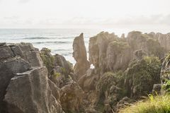 Punakaiki Pancake Rocks and Blowholes, West Coast, New Zealand stock photography