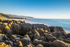 Punakaiki Pancake Rocks and Blowholes, West Coast, New Zealand Royalty Free Stock Image