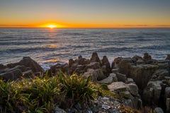 Punakaiki Pancake Rocks and Blowholes, West Coast, New Zealand Royalty Free Stock Images