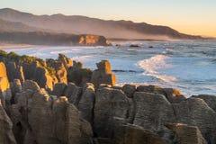 Punakaiki Pancake Rocks and Blowholes, West Coast, New Zealand Stock Photos