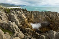 Punakaiki Pancake Rocks in New Zealand Royalty Free Stock Photos