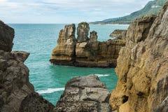 Punakaiki Pancake Rocks in New Zealand Stock Images