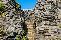 Punakaki, Pannekoekrotsen in het Nationale Park van Paparoa Stock Fotografie