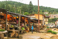 Punakha, Butão - 10 de setembro de 2016: Mercado butanês local em Thimphu, Butão Foto de Stock Royalty Free